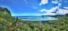 MAURITIUS Le Morne (stega60) Tags: mauritius ilemaurice mountains sea indianocean indischerozean bucht bay blue green plant forest clouds sky hdr pano panorama stiched stega60