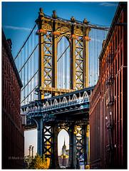 Dumbo (Mark Lindstrom) Tags: urban handheld olympus12100 olympusem1mk2 sightseeing classicscene architecture building goldenhour bridge manhattan newyork brooklyn dumbo
