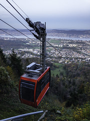 The Luftseilbahn Adliswil-Felsenegg (LAF) coming into the Felsenegg station, with a view back towards Zürichsee, Felsenegg, Canton of Zurich, Switzerland (rickwarner) Tags: switzerland cantonofzürich felsenegg luftseilbahn luftseilbahnadliswilfelsenegg