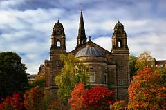 Heavenly (vincocamm) Tags: stcuthberts church princesstreet edinburgh scotland trees autumn red yellow orange building nikon d5500