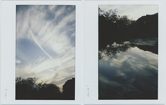 this evening (breeze.kaze) Tags: instantfilm fujiinstaxwidefilm mintinstantkonrf70 evening dusk sky clouds contrail pond lotus lily trees water reflections collage