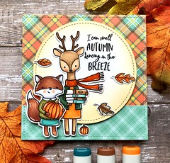 I Can Smell Autumn Dancing in the Breeze (The Queen's Scene) Tags: card cardmaking stamping papercrafting handmadecard hellobluebird fall copicmarkers autumn