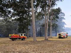 Rural Fire Service (RFS) Trucks doing Controlled Burns along Wards Road near Ton o Fun, Failford, Mid North Coast, NSW (Black Diamond Images) Tags: heritageestate homesteadestate aquaticroad greatlakesnsw saturday26thoctober2019 firefighters ruralfireservice rfs australia nsw midnorthcoast 26102019 26thoctober2019 fire bushfire inferno tuncurrybeach 9milebeach ninemilebeach tonofun wardsroad oakviewdrive hallidayspoint tallwoods tallwoodsvillage corrigansroad corrigansrd darawanknaturereserve darawankbushfire failfordbushfire iphonexbackcamera iphonex iphone shotoniphone