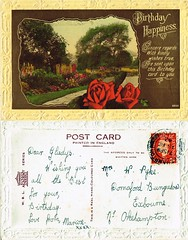 2 Birthday Post Card sent to Mrs W (Winifred Gladys) Pyke, Dornaford Bungalow, Exbourne, 15th February 1942 (North West Kent Family History Society) Tags: birthday christmas postcard sent missgladysvooght 50victoriaroad exmouth devon 24thdecember1919 ecbdcollection winifredgladysvooght born 16thfebruary1912 exeter daughter henrythomasvooght matildamayburridge married williamhenrypyke 1934 1939register newlandcottage okehampton carpenter 15thfebruary1933 dornafordbungalow