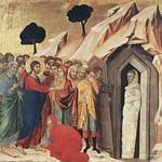 41e Дуччо Воскрешение Лазаря Клеймо оборотной стороны Маэсты