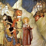 45 Симоне Мартини Отречение св Мартина от оружия, Фреска в  Ассизи 1317