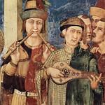 45а Симоне Мартини Посвящение в рыцари св Мартина Фрагмент фрески в Ассизи 1317