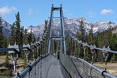 Suspension Bridge. (womboyne7) Tags: bridge fence river crossing alberta canada rockymountains snow rocks trees green