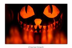 burning pumpkin (SonjaS.) Tags: halloween kürbis feuer licht light fire doppelbelichtung
