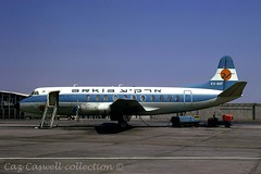 4X-AVF  Viscount 831  Arkia (caz.caswell) Tags: 4xrollsroycedarttuurbopropengines rr rrdart vickers viscount vickersviscount airliner turbopropairliner sdv acc pos yow lhr lgw gib lpl fco phl dus 4xavf arkia telaviv israel