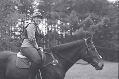 Cross-country Schooling 08 (Derek R Goulet) Tags: horse horses animals equine crosscountry schooling equestrian sports saddle course massachusetts outdoors 35mm film bw blackandwhite pentax pentaxk1000 walk trot canter gallop jumps jump gelding