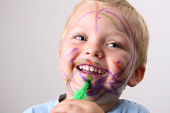 Funny Mess (TatemWebDesign) Tags: boy child son kid toddler happy smiling laughing enjoying content play fun colorful pens green purple orange caucasian blond blueeyes laughter playful funny cute sweet dirty messy mess mouth open teeth eyes dirt face portrait headandshoulders healthy website services
