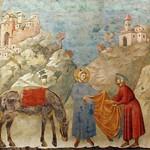 35b Джотто Св. Франциск отдает плащ нищему. Верхняя церковь в Ассизи 1296-1304