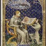 74а Жан де Бондоль. Жан де Вадетар преподносит книгу Карлу V. Миниатюра 1372