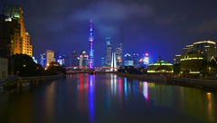 Shanghai - Suzhou Creek Reflections (cnmark) Tags: china shanghai pearl orient pearloftheorient tv tower building night bright colored coloured light nacht nachtaufnahme noche nuit notte noite 东方明珠 东方明珠电视塔 suzhou creek wusong river 苏州河 吴淞江 scenic garden bridge 外白渡桥 reflection reflections famous ©allrightsreserved longexposure langzeitbelichtung
