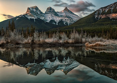 A Frosty Morn (Phil's Pixels) Tags: sunrise dawn daybreak sunup reflections mirror frosty chilly threesisters canadianrockies peaks canmore alberta