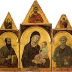 40 Дуччо ди Буонинсенья Полиптих Богородица со святыми. ок 1300. Сиена, Пинакотека