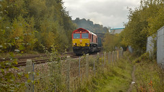 66 Red (_J @BRX) Tags: class 66 brighouse 24th october db england uk locomotive freight train railway railroad rail electromotive diesel emd gm nikon class66 autumn 2019 red 66101
