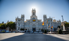 449A4828 (Cauther Photography) Tags: madrid spain espana canon blue sky sun sol sunshine building palace car white flag shadows