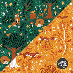 Foxes in the Forest - Pattern (latheandquill) Tags: fabric pattern design illustration fox squirrel bird forest orange emerald green red autumn fall nursery kids trees nature