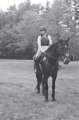 Cross-country Schooling 01 (Derek R Goulet) Tags: horse horses animals equine crosscountry schooling equestrian sports saddle course massachusetts outdoors 35mm film bw blackandwhite pentax pentaxk1000 walk trot canter gallop jumps jump gelding