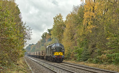Tractors in the Park (Wulfruna Kid) Tags: 37057 d6757 class37 englishelectric type3 colasrailfreight departmental suttonparkline streetly autumncolours 2019