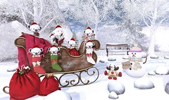Soon the most anticipated journey will begin (Rose Sternberg) Tags: deco decor home garden interior second life november 2019 exclusive for cosmopolitan event bee designs winter love sleigh christmas koalas gacha sways clyde bench sith snow snowman hitchhiker