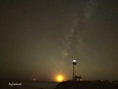 Moon setting in Milkyway at lighthouse (joy2artwork) Tags: nightsky milkyway moonsetting ocean sky moon lighthouse nature night crescent newmoon moonset joy2artwork highway1