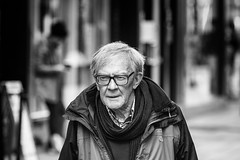 Street stroller (Frank Fullard) Tags: frankfullard fullard candid street portrait older elderly walk stroll cork irish ireland monochrome black white blanc noir dignified warm coat scarf