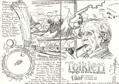 Expo Paris - Tolkien (croquisdenico) Tags: dessin drawing sketch sketchbook croquis pen exhibit exhibition exposition paris tolkien terredumilieu lordoftherings hobbit middleearth bw