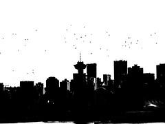 Crows flying at dusk over the Vancouver skyline (peggyhr) Tags: peggyhr skyline bw crows dsc09972a vancouver bc canada silhouette urban dslrautofocuslevel1 carolinasfarmfriends