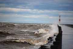 Gales of November (AvR Digital Photography) Tags: storm wind waves pier lake ontario rochester newyork port great crash wild crest water nikon d40 slr