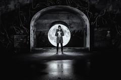 Moon Light Paint BW (superdavebrem77) Tags: longexposure lightpaint blackandwhite peterborough ontario hunterstreetbridge