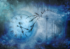 Time flies (Johnny_7) Tags: surreal clock birds crows artistry dream lamp post penny farthing bicycle time composition flight blue imagination