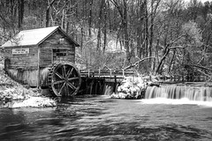 Wintery Hydes Mill (AChucksEyeView) Tags: hydesmill hydes wisconsin snow winter landscape black white bw water falls waterfall mill gristmill grist creek waterwheel frost blackandwhite