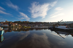 Whitby Harbour (daveseargeant) Tags: whitby harbour ultra wide coastal coast water sea seaside north yorkshire nikon df 1424mm 28g reflection clouds sky boats