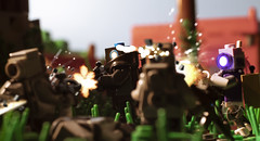 Prologue__17 (Immediate~C) Tags: lego robot robots proxy proxies sunlight sun photoshop photography drone drones gunfire gun shotgun apocalypse postapocalypse postapocalyptic overgrown vintage 50mm sparks muzzleflashes muzzleflares