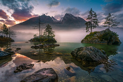 Winter morning sunrise (gregor158) Tags: winter sunrise clouds lake trees tree mountains mountain reflection fog mist hintersee germany europe landscape nature berchtesgaden rocks place travel