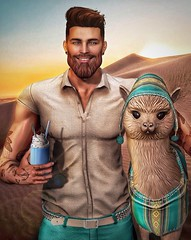 [ 📷 - 145 ] (insociable.sl) Tags: fun funny cute animal pet holiday hot pancho peru alpaca sand desert tattoo beard man boy male model edit sl secondlife