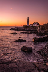 Morning Twilight at Portland Head Light (MichellePhotos2) Tags: portland maine coast shore shoreline light lighthouse ocean atlantic morning rocks water waves nikon d850 nikond850 prime 35mm harbor historic capeelizabeth cascobay fortwilliamspark beacon tower rock rockformation quartzite phyllite