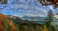 Autumnal panorama of the river Inn valley seen from Nußlberg near Kiefersfelden, Bavaria, Germany (UweBKK (α 77 on )) Tags: autumn autumnal fall herbst tree forest wald baum bavaria bayern germany deutschland europe europa iphone landscape landschaft view scene scenic scenery panorama panoramic cloud sky mist fog nebel dunst nuslberg nusslberg