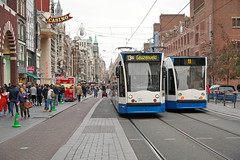 Damrak - Amsterdam (Netherlands) (Meteorry) Tags: europe nederland netherlands holland paysbas noordholland amsterdam centrum center centre damrak casino primark beurs siemens combino 13g gvb13 rerouted diverted omleiding people crowd tram streetcar tramway public transport publique transportencommun transit gvb gvb2069 october 2019 meteorry