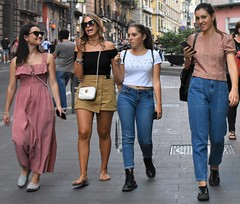 Tourists in Naples (thomasgorman1) Tags: people group women woman walking pedestrians tourists tourism candid public city sidewalk smile smiling naples italy europe outdoors nikon jeans fashion