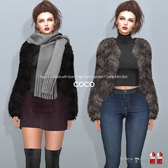 COCO New Release @ Fameshed (cocoro Lemon) Tags: coco fameshed fur jacket scarf highneck sweater suede mini skirt mesh secondlife fashion maitreya belleza slink