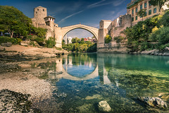 Old bridge in Mostar, Bosnia-Herzegovina (Sizun Eye) Tags: bridge footbridge mostar bosniaherzegovina river nerevta war history monument reflection longexposure le morning autumn october jump sonyfe1635mmf28gm sony7rm2 sony nisifilters