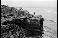 Standing On The Cliff (greenschist) Tags: cinestillbwxx california lajolla film cliff people usa zeissplanar50mmf2tzm zeissikonzm rangefinder blackwhite sandiego waves 35mm analog fence