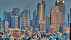Wolkenkratzer im Abendlicht (Sanseira) Tags: australien australia sydney skyline architektur architecture hochhäuser wolkenkratzer