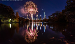 New York Marathon Fireworks (20191101-DSC07828) (Michael.Lee.Pics.NYC) Tags: newyork centralpark lake marathon fireworks night twilight bluehour longexposure reflection architecture cityscape sony a7rm4 voigtlanderheliar15mmf45 moon