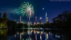 New York Marathon Fireworks (20191101-DSC07814) (Michael.Lee.Pics.NYC) Tags: newyork centralpark lake marathon fireworks night twilight bluehour longexposure reflection architecture cityscape sony a7rm4 voigtlanderheliar15mmf45 moon
