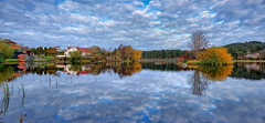 Skeisvatnet, Norway (Vest der ute) Tags: xt2 norway rogaland haugesund water waterscape landscape lake reflections mirror clouds sky autumn trees houses fav25 fav200